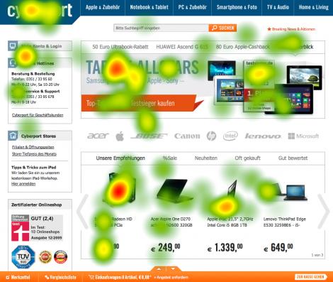 """Eyetracking Heatmap (n=10) von der Aufgabe: """"Was verkauft der Anbieter?"""""""